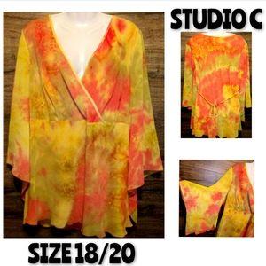 Studio C Top Size 18/20 Tie Dye Bell Sleeve